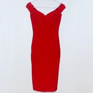 BCBGMaxAzria red bandage bodycon midi dress small